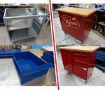 Werkstattwagen von grau/blau in individuelle Firmenfarbe folieren